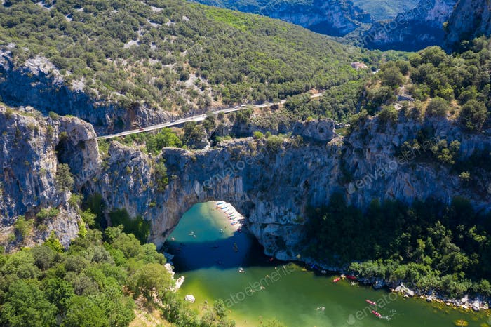 Aerial view of Narural arch in Vallon Pont D'arc in Ardeche cany