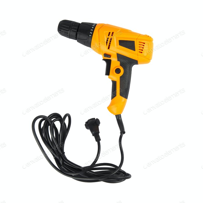 electric drill with cord isolated on white background