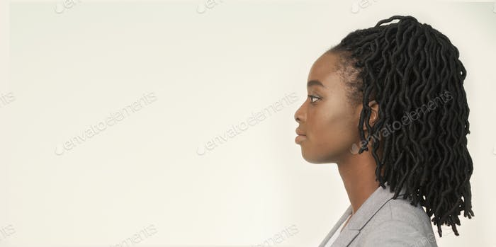 Profile Portrait Of Serious Businesswoman, Studio Shot, Panorama