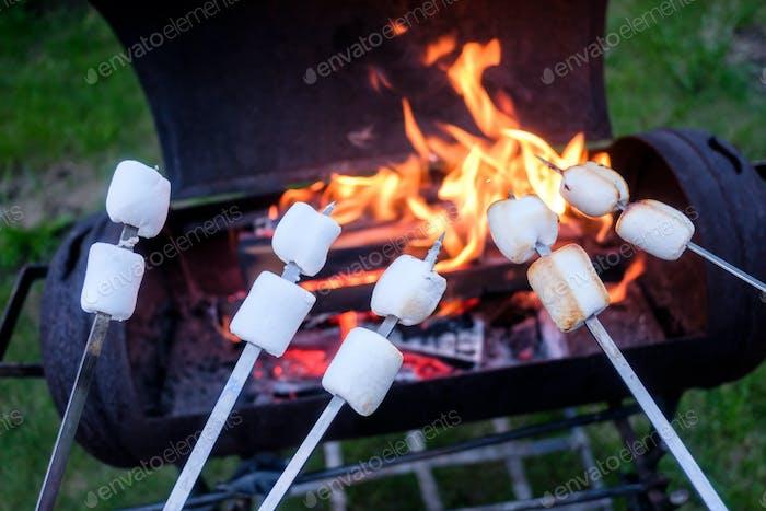 marshmallow on metal skewer