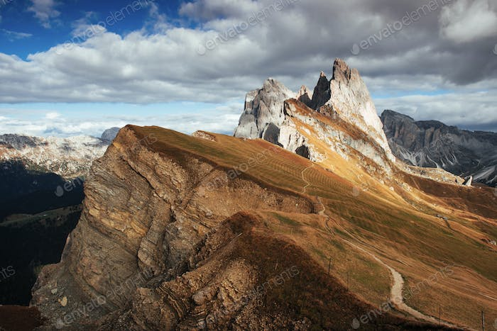 Extraordinary beauty. Outstanding hills of the Seceda dolomite mountains at daytime