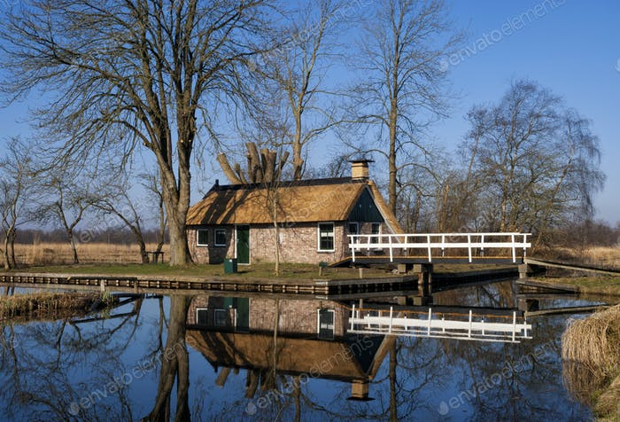 Peat gatherers house in the Weerribben