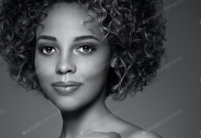 African american woman hair skin beauty. Monochrome. Gray. Black and white.