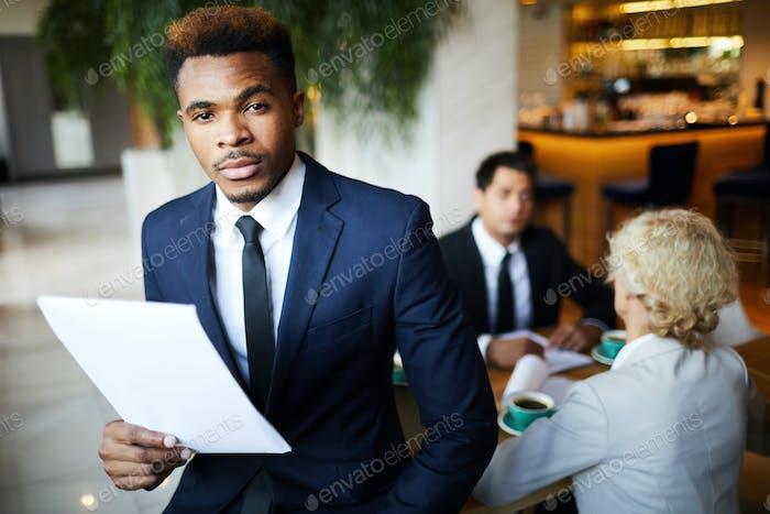 Businessman at restaurant at meeting