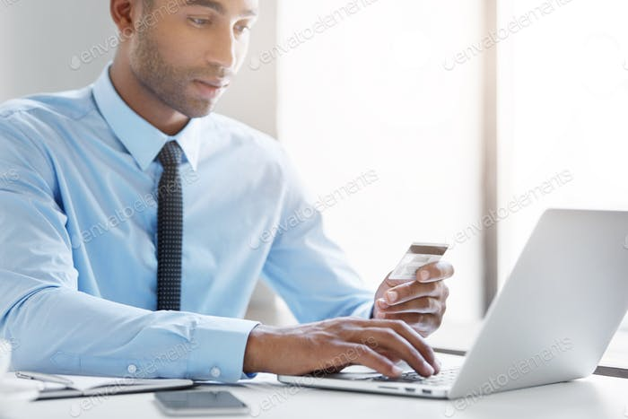 Modern technology, business, career, e-commerce and online trading concept. African American busines