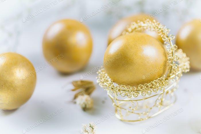 Golden Easter Eggs On Table