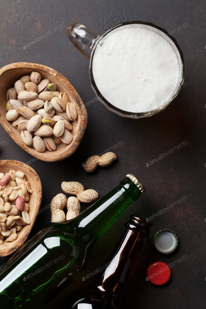Lager beer and nuts
