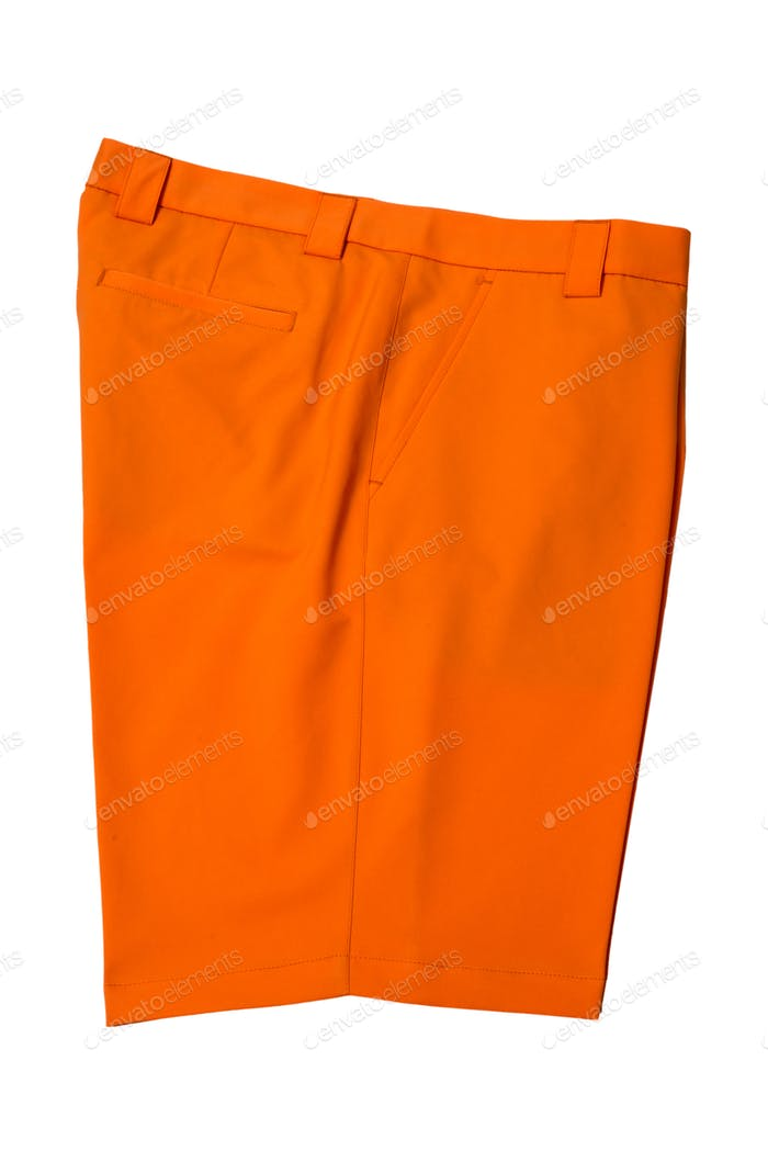 Orange short pants trousers for man or woman