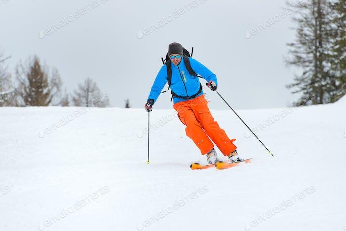 Downhill ski mountaineering