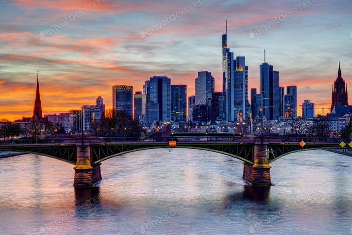 Colorful sunset over downtown Frankfurt