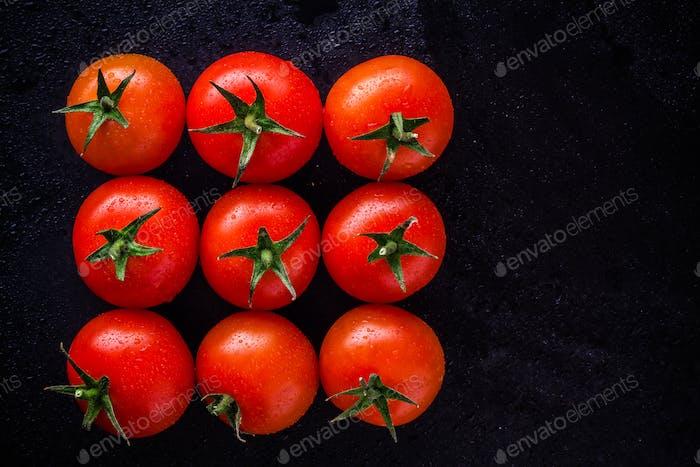 Nine fresh organic cherry tomatoes