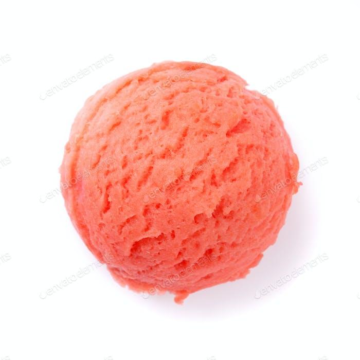 Raspberry ice cream scoop
