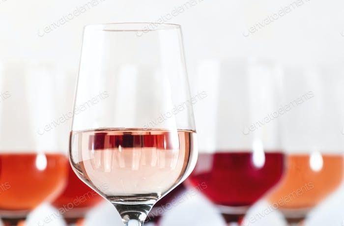 Rose wine glasses set on wine tasting