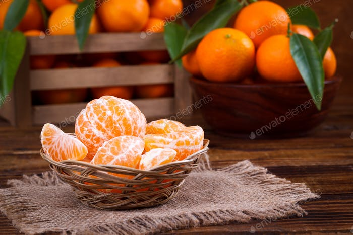 Mandarines ou mandarines gros plan