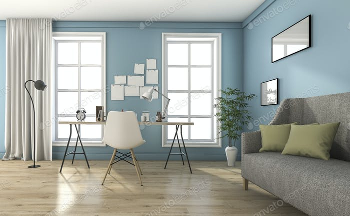 3d rendering blue vintage living room with beautiful furniture and decoration