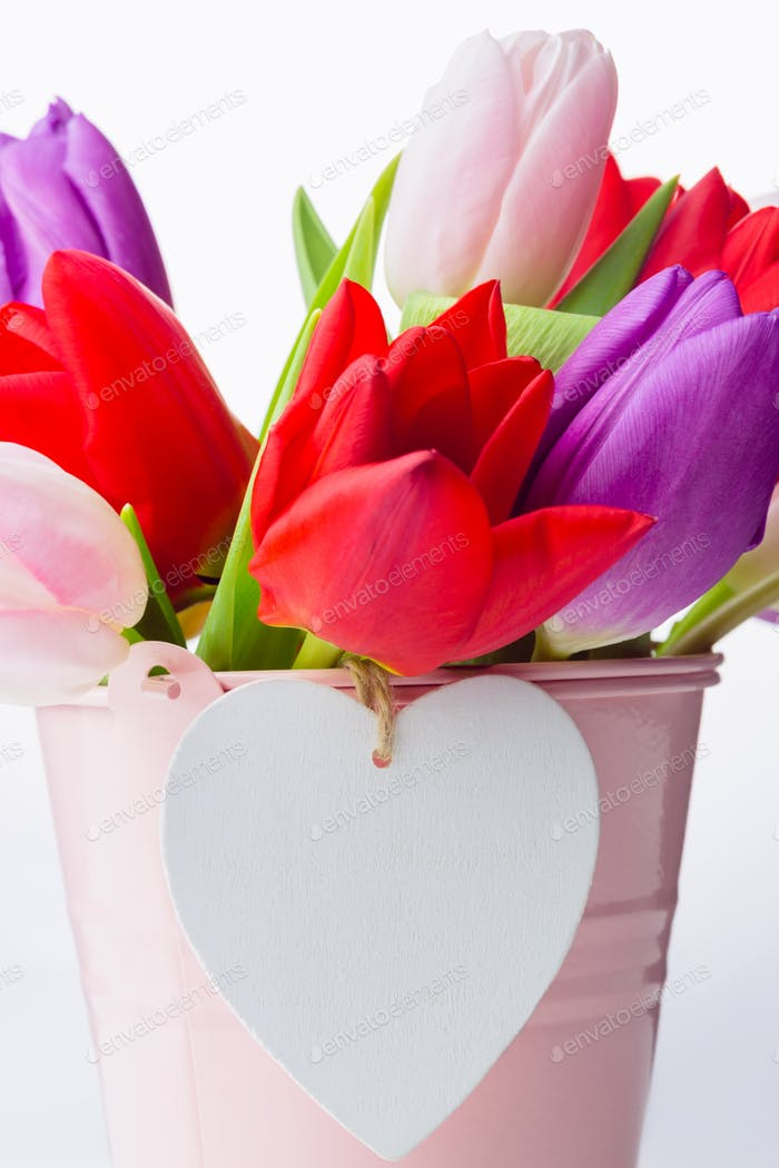 Bunch of tulips and heart card on white background