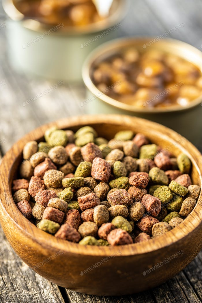 Dry kibble animal food. Dried food for cats or dogs.