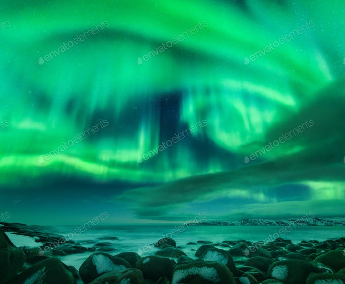 Aurora borealis over ocean. Northern lights in Teriberka