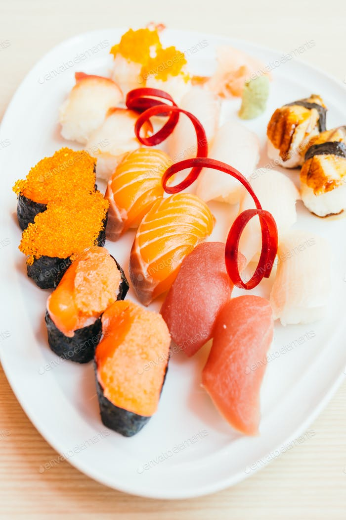 Raw and fresh nigiri sushi