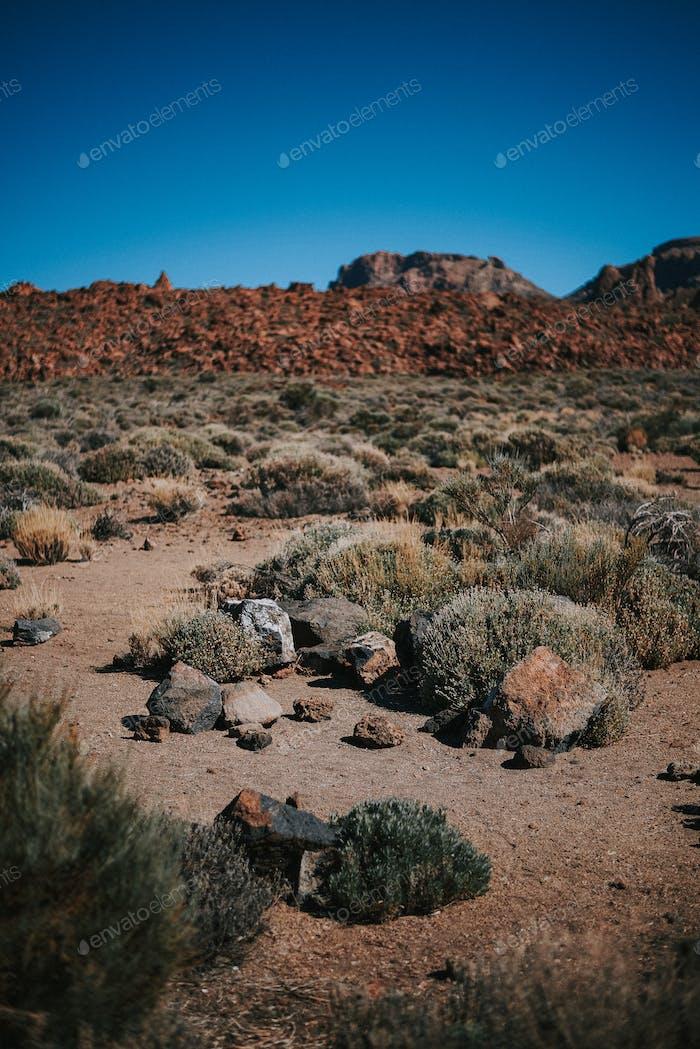 desertic landscape in Teide mountain, Tenerife, Spain