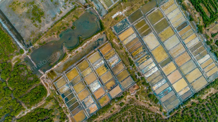 Luftaufnahme der Salzfarm, Stadt Dar es Salaam