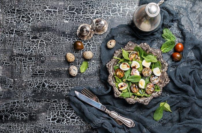 Grüner Salat mit Spinat