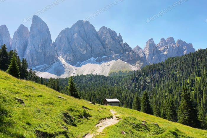 Mountain views from Adolf Munkel trail, Dolomite Alps, Italy