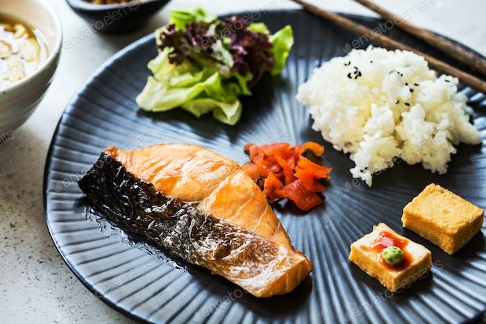 Salmon Teriyaki with Rice,Miso soup and Kimchi