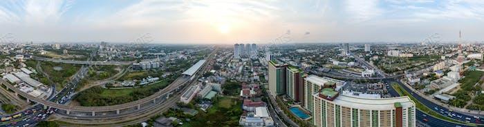Panorama 360° de la autopista de Bangkok al aeropuerto de Suvarnabhumi