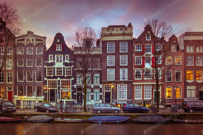 Historic Canal houses on the Brouwersgracht in Amsterdam in vint