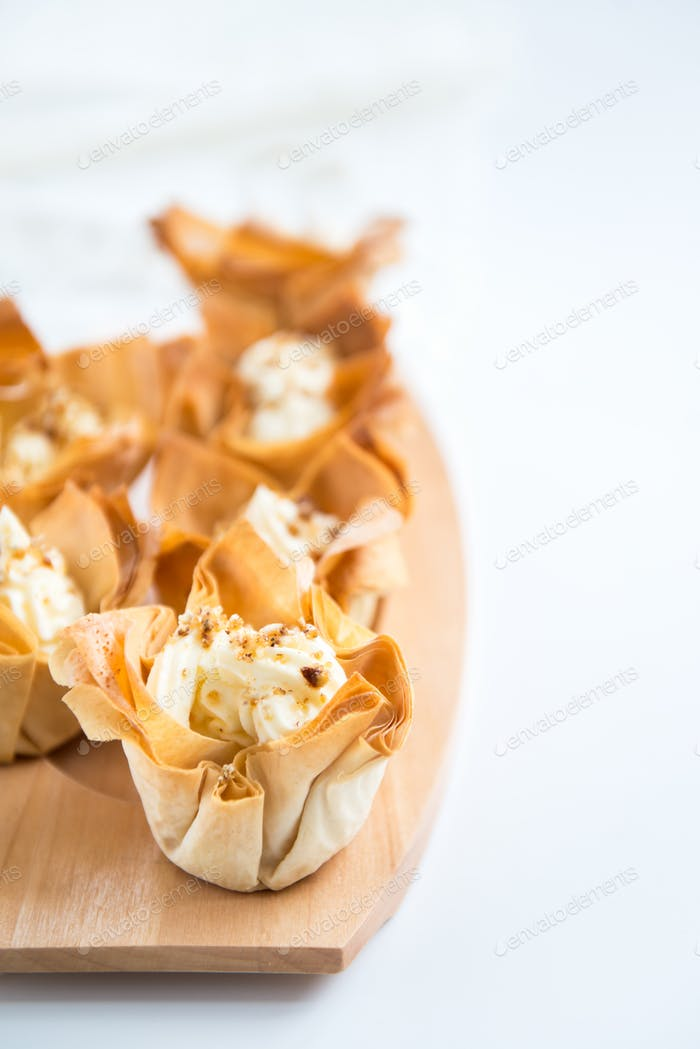 Homemade Filo Pastry Baskets with Mascarpone Cream