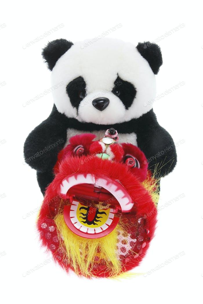 Soft Toy Panda and Lion Dance Figurine