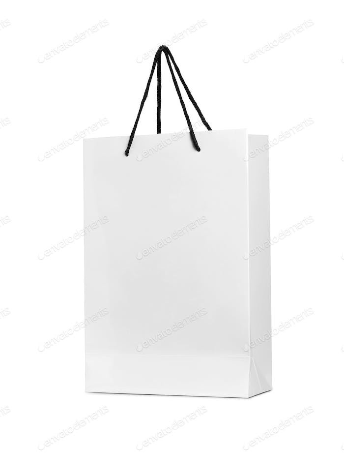 a white shopping bag on a white background