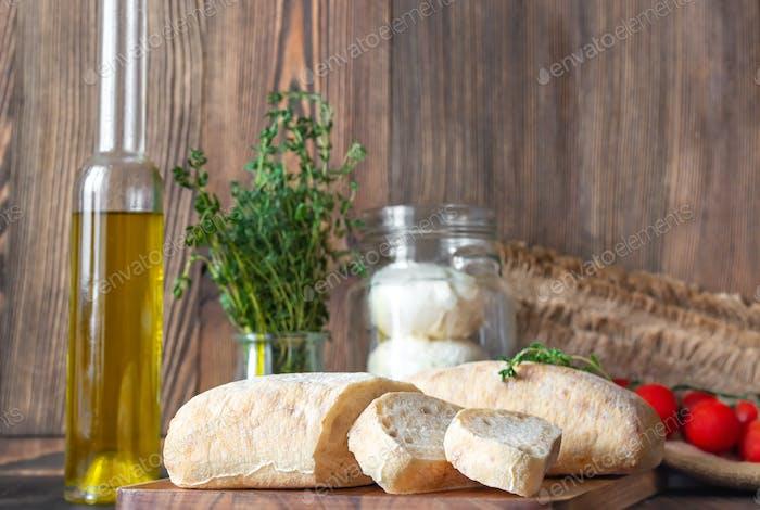 Assortment of Italian food