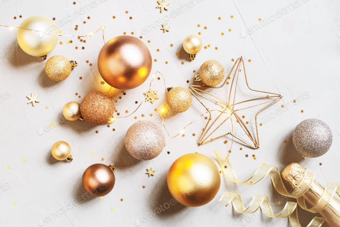 Christmas Card with Golden Balls and Champaign Bottle