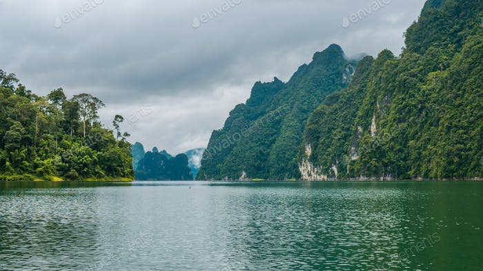 Cheo Lan Lake in Khao Sok, Suratani, Thailand.Rainy Clouds