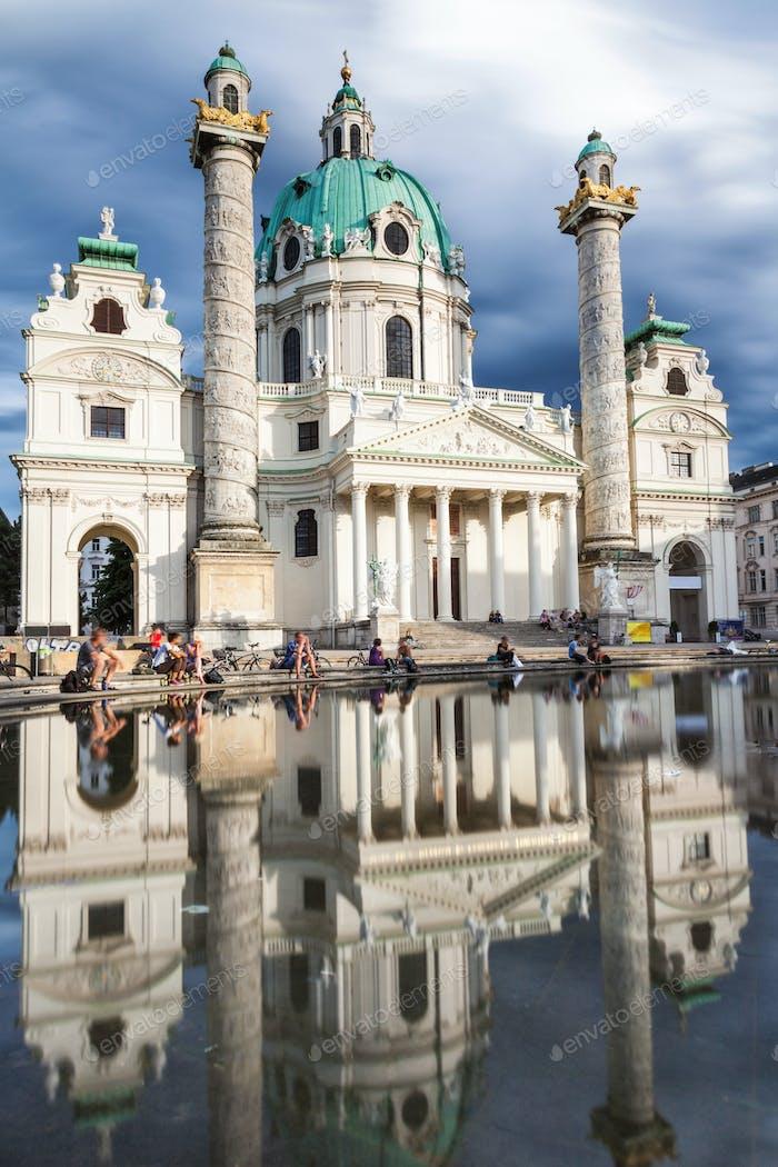 Long exposure of Karlskirche church in Vienna Austria