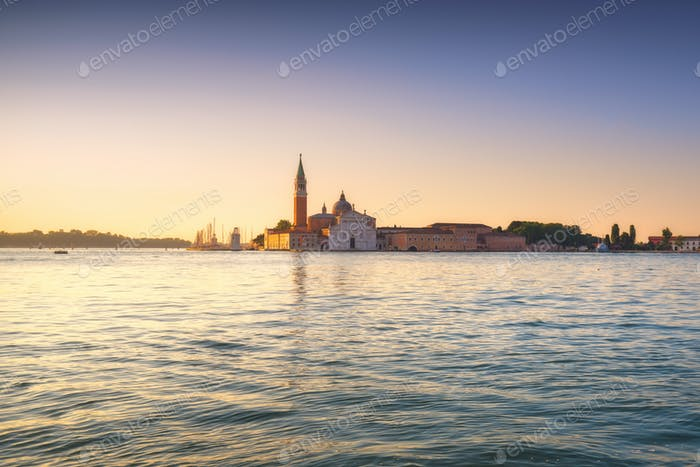 Venice lagoon, San Giorgio church at sunrise. Italy
