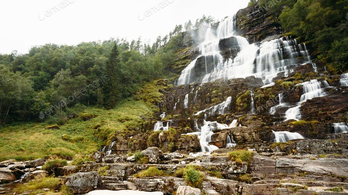 Famous Tvindefossen Waterfall in Norway