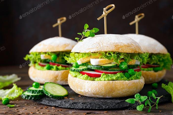 Hamburger with homemade ciabatta bun bread, boiled egg