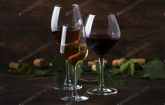 Red, white and rose wine in assortment
