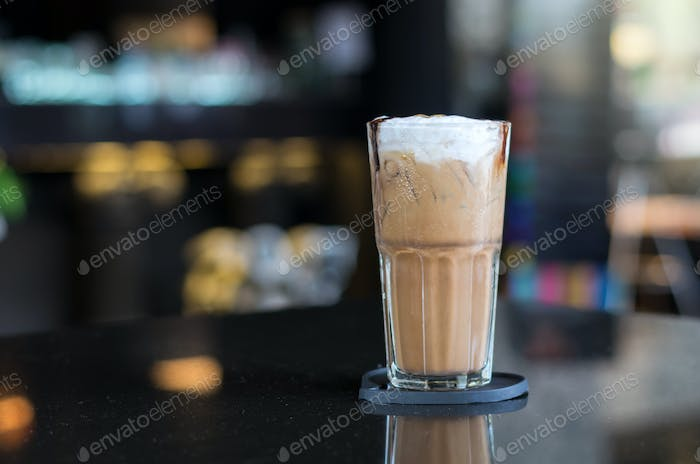 Ice Cappuccino on the table