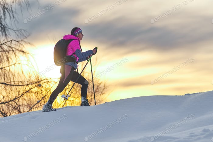 Uphill with snowshoes