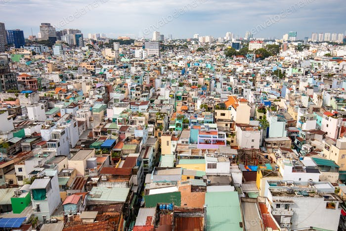 The vast sprawl of buildings in Ho Chi Minh City, otherwise known as Saigon in Vietnam