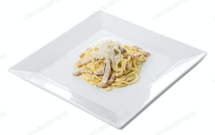 Classic italian Carbonara pasta.