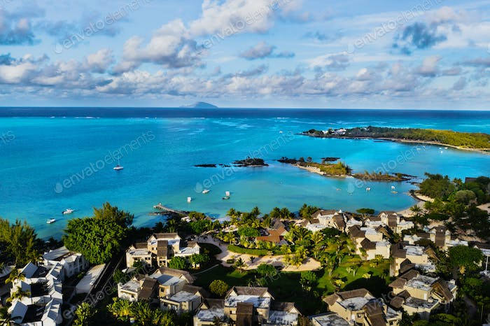 Aerial photography of a coral reef and a hotel complex with beaches in Mauritius,