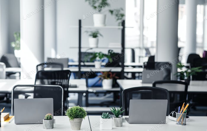 Coworking eco-office and absence of workers during quarantine