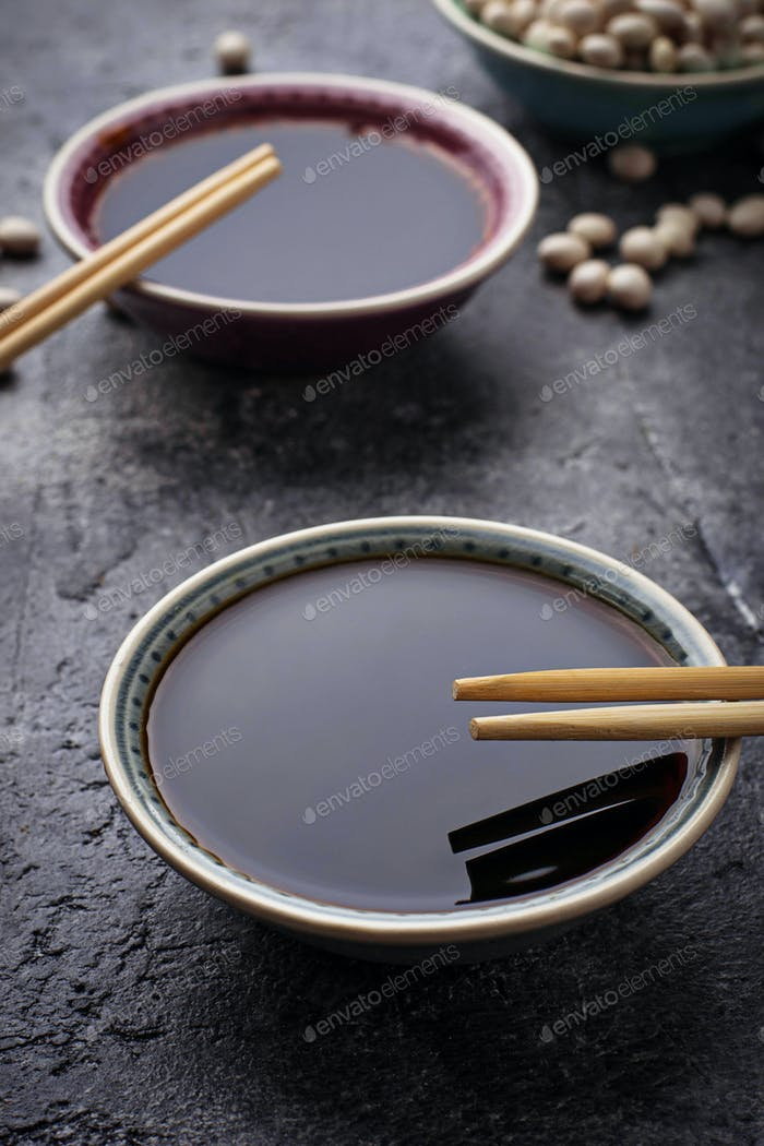 Bowls of soy sauce