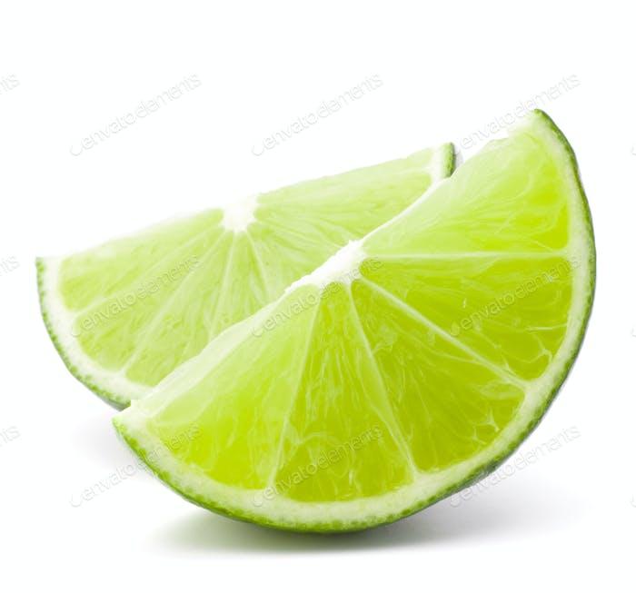 Citrus Limettenfrucht Segment isoliert auf weißem Hintergrund Ausschnitt