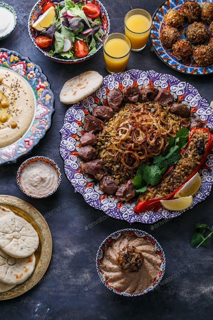 Middle eastern or arabic dishes and assorted dishes, top view